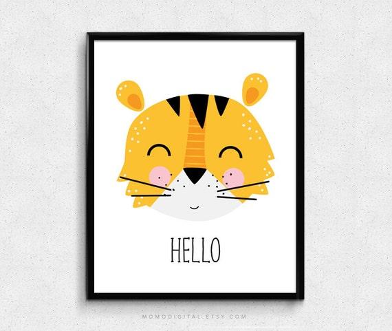 sale hello tiger cartoon animal baby nursery boy girl. Black Bedroom Furniture Sets. Home Design Ideas