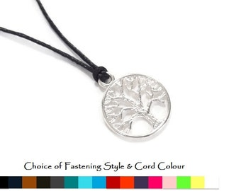 Tree of Life Pendant Necklace (cord colour options) - Mens pendant necklace - Mens Cord necklace - Mens Tree of Life necklace