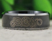 Black Tungsten Band with Beveled Edge Two Toned Doctor Who Pattern Ring- 8mm Tungsten Ring