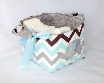 Mint blue, grey white chevron fabric storage basket,diaper caddy, nappy storage, change table storage, Scandi nursery decor, baby gift,