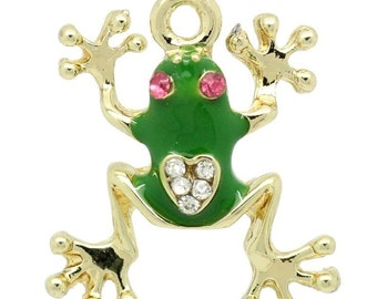 3 Green Enamel Frogs with Rhinestone Crystals Gold Charm Pendants 22mm - 20X