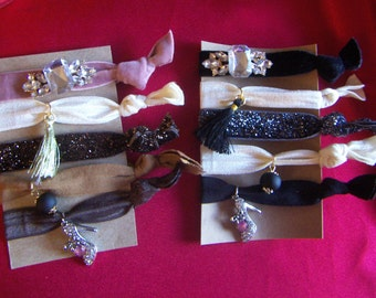 Hair Ties Girl's  Elastic Hair  Tie Ponytail Holders with Charms and  Tassel- Adorable! 5pcs