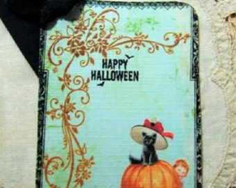 FOUR Vintage Halloween Black Cat Pumpkin Flourish Hang tag / Gift Tag