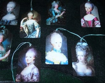 EIGHT petite Vintage Blue Marie Antoinette French Hang tags / Gift Tags