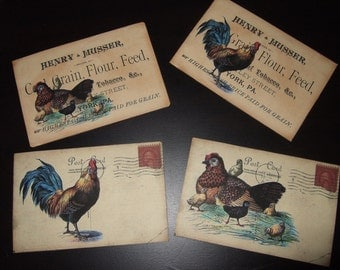 FOUR Vintage French Rooster Kitchen Postcards