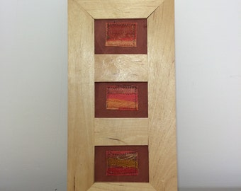 Abstract Textile Triptych in Orange