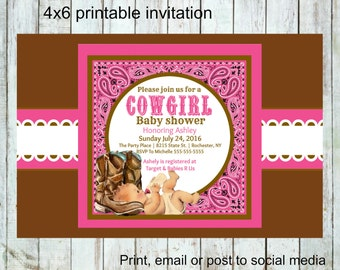 Country Baby Shower Invitations, Cowgirl Baby Shower Invitation, Cowboy  Boots, Printable, Digital