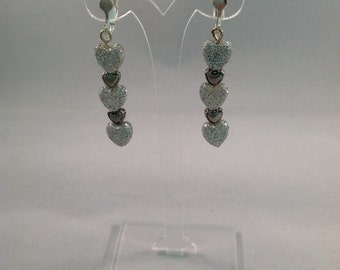 Sparkling Silver Hearts Dangling Earrings - Clip On