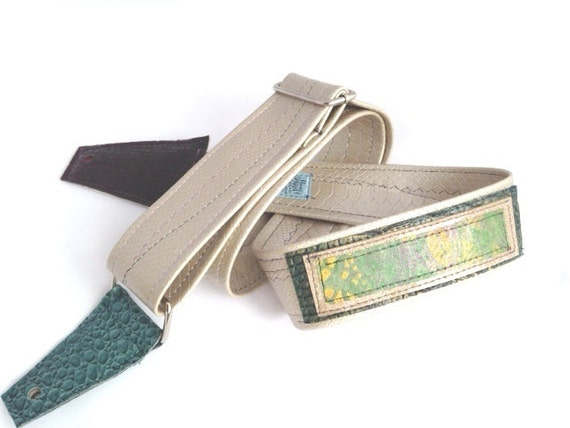 Silver and Green Adjustable Guitar or Bass Strap One Of A Kind