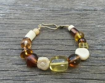 """Earthy Glass Bead Wire Bracelet 6"""""""