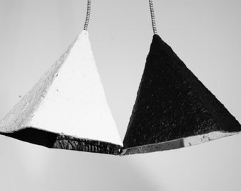 Paper mache lamp geometric - lamp - black and white modern pendant light - chandelier - double hanging lamp - recycled lamp  #RH-DD001