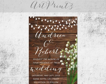 Rustic Wedding Invitation Printable, Country Wedding Invitation Printable, Lilly Wedding Invitation Printable Barn Wood Invitation Printable