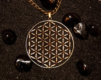 Flower of Life Life's Flower Vesica Piscis Matrix Mandala Jewelry Yoga Pendant Magic Gift : Bronze Handmade Pendant with chain