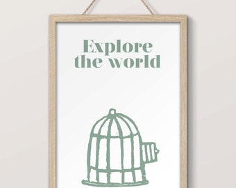 Inspirational poster - Explore the World - print, home wall decor, gift, typographic art, minimalist, travel