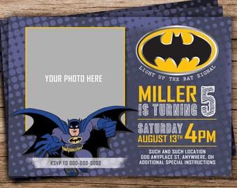 Batman Invite with Photo, Batman Birthday Party, Batman Invitation, Batman Party, Printable Batman Invitation, Photo Invitation,  452476938