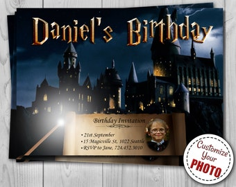 Harry Potter Birthday Invitation, Hogwarts Invite customizable with photo, Harry Potter party - Digital Invitation 5 x 7 by Printadorable