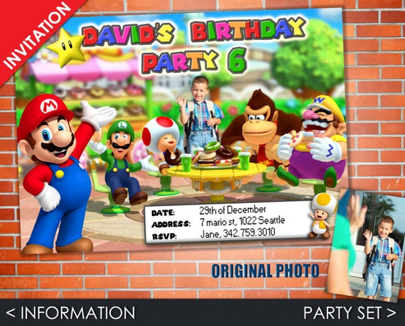 Super Mario Invitation - Mario Party Set with Birthday Invite, Favor Tag, Address Label and Water Bottle Labels