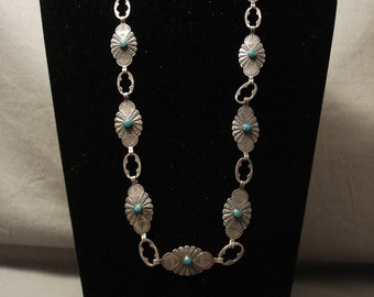 Early 1900's Vintage Navajo Turquoise Silver Necklace