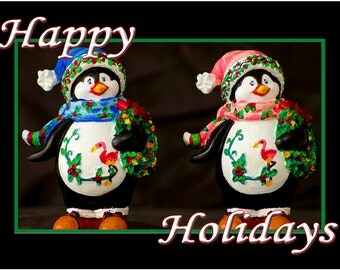 """Two Penguin Happy Holidays Fridge Magnet 3.25""""x2.25"""" Collectibles (PMD11004)"""