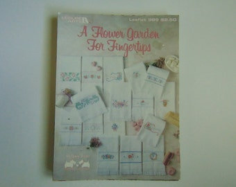 A Flower Garden for Fingertips Counted Cross Stitch 2 Leisure Arts Leaflet #989 - 1990