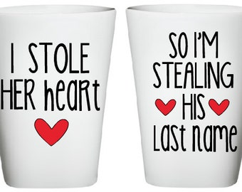 I Stole Her Heart- So I'm Stealing His Last Name Mug- Engagement Gift- Wedding Gift- Bridal Shower Gift- His and Her Mugs- Unique Gift