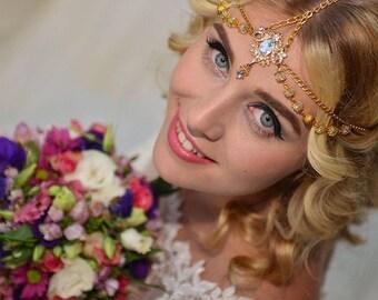 Wedding Gold Tikka, Crystal Jewelry, Bohemian Hair Jewelry, Boho Headchain, Gatsby Headpiece.