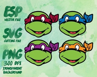 Ninja Turtle Clipart , SVG Cutting , ESP Vectors files , T shirt , iron on , sticker ,Personal Use