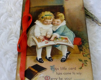 Wooden Christmas cards Greeting card Vintage style postcard  Merry Christmas Victorian Christmas wood card  Christmas gift for mother.
