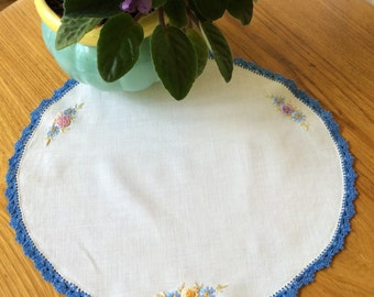 Vintage Doily With Embroidery And Crochet