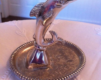 Vintage Ring Holder - Dolphin Jewelry Tray - Silver Tone - Permanently Attached to a Intricately Detailed Tray - Gift for Anyone