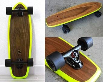 Handmade vintage inspired Walnut cruiser skateboard