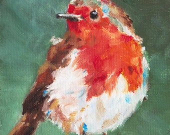 Robin I, original oil painting print