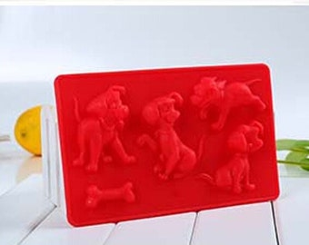 Dogs and bone candy Cake Mold Flexible Silicone Soap Mold For Handmade Soap Candle Candy bakeware baking moulds kitchen tools ice molds