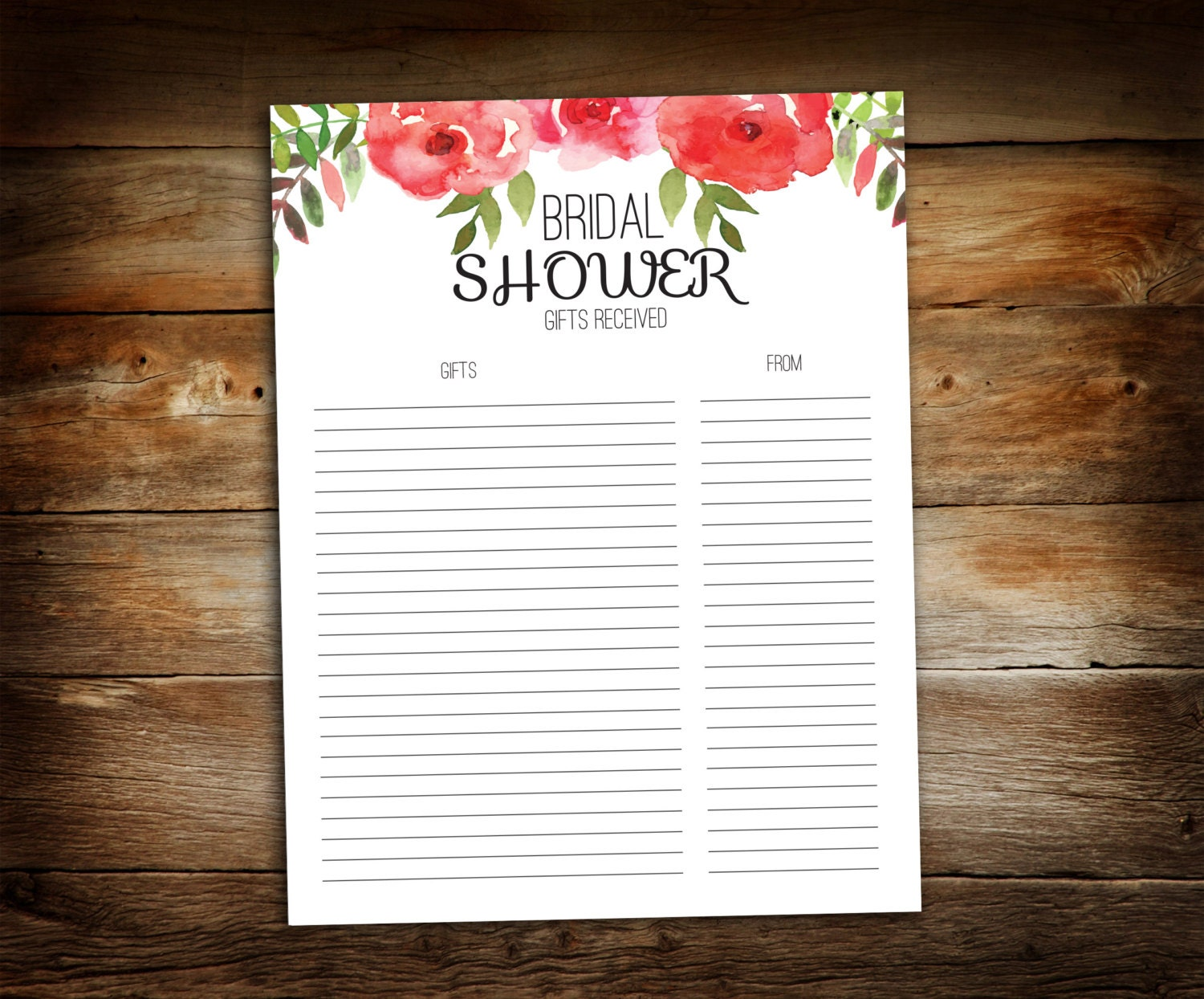 Bridal Shower Gift List List Of Received Gifts Wedding