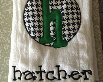 Burp cloth with name and initial