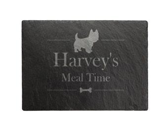 Personalised Slate Rectangle Dog Food Mat