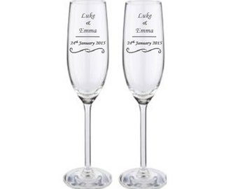 Personalised Engraved First Names and Date Champagne Flutes Glasses,