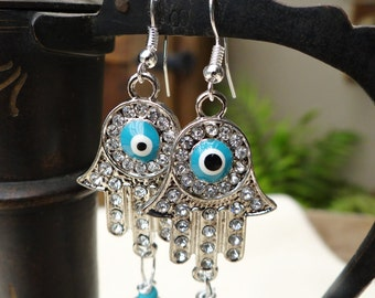 Silver Crystal Hand Evil Eye Hamsa Turquoise Assembled Earrings - ERU175