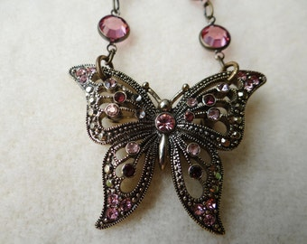 1950's Vintage Pink Rhinestone and Marcasite Butterfly Brooch Assemblage Necklace - NRU263