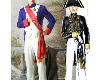 2006 Butterick 4891 Men's Napoleon Style Costume 18th Century Military Regalia, OOP, New, Uncut, Factory Folded Sewing Pattern Size XLG-XXXL