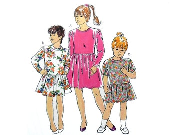1991 Kwik Sew 2078 Girls' Pull-Over Dresses with Gathered Skirts and Long or Short Sleeves, Uncut, Factory Folded Sewing Pattern Size 4-7