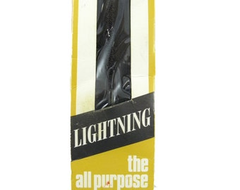 "Vintage 1960's Lightning Nylon Black Zipper 4"" (10 cm) long Unused in Original Packaging, Made in Australia"