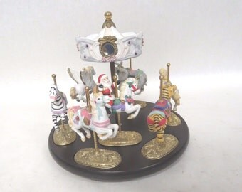 Scarborough Fair Musical Carousel & 7 Ceramic Figurines With Gold Plated Bases