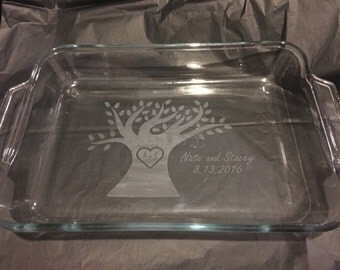 Family Tree Etched Glass Baking Dish