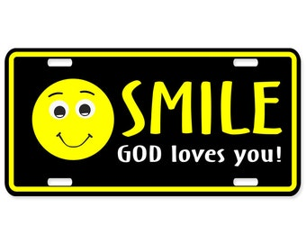 Christian license plates - Smile God Loves you - Personalized items