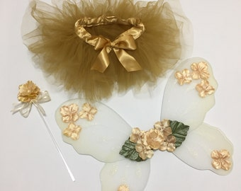 Gold fairy costume, gold baby tutu, fairy wings and wand, baby Halloween costumes for kids, toddler girls gold fairy wings, gold fairy wand