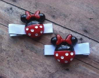 minnie mouse with bow hair clip set hair clips mickey mouse disney red white black polka dot