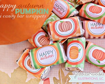 Happy Autumn Pumpkin Printable Candy Bar Wrappers, Chocolate Bar Label, Autumn Party Printables, Pumpkin Candy Wrappers, Happy Autumn Party