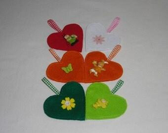 6 felt heart - Easter decoration - Easter - Easter Bush - gift tags