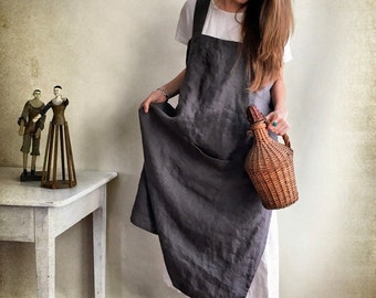 Linen Pinafore Apron, Linen Apron, Crafts Apron, Dark Pinafore Dress Woman, Cross Back Apron, no-ties apron, Japanese apron, vintage apron